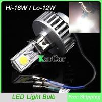 New arrival 18W 1800LM H4 H6 6-36V Hi/Lo Beam LED Motorcycle Headlight Bulbs, Super Bright COB Chip Motorbike Head Lights