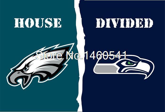 Philadelphia Eagles Seattle Seahawks House Divided Flag 3ft x 5ft Polyester NFL Banner Size No.4 144*96cm Custom flag(China (Mainland))