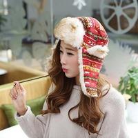 New Arrival 1pcs Women's Winter Warm Fur Headgear Cute Hats Ski Caps Ear Protect Xmas Gifts Free shipping