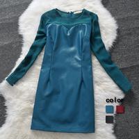 Pu patchwork chiffon one-piece dress long-sleeve basic straight free shipping