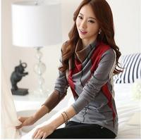 2014 autumn winter vestidos sweatshirt long-sleeved piles stitching cotton blusas femininas clothing slim women blouses