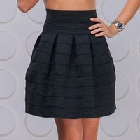 3 colors New 2014 Winter Women skirts Fashion Brand Pink Stripe Stitching High Waist Elastic Ball Gown Plus Short Skirt