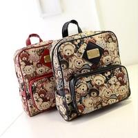 Women bags new 2015 street fashion backpack Canvas cartoon printing bear women Shoulder bags Hot sale Mini bag bolsas femininas
