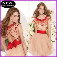 Vestido de festa Lovely Bow Beaded Scoop Neck Sleeveless Red Short Evening Dresses 2015 Open Back Tarik Ediz Dress TY-008
