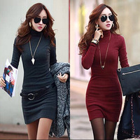 2014 fall &winter clothes dress women dress high collar bottoming clothes solid color tight pack hip slim dress warm cotton
