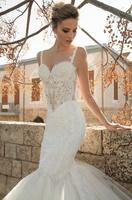 Sweetheart neckline open back tulle mermaid see-through wedding dress