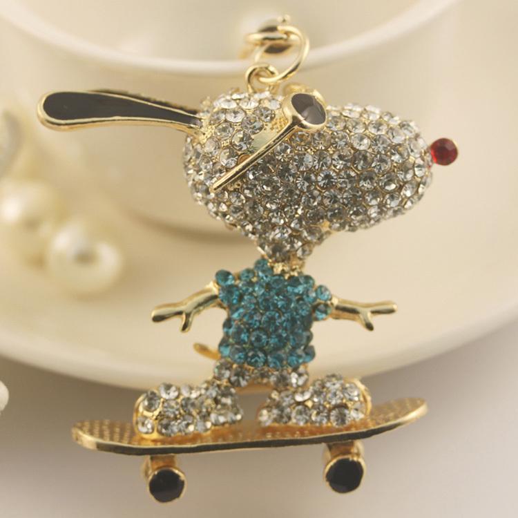 Rhinestone dog fashion keychains Ring Holder Purse Charm Jewelry Accessory Free Shipping PWK0015(China (Mainland))