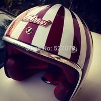 Masei 501 Motorcycle Helmet Open Face Cafe Racer Ruby Helmet Red Green