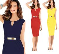 2014 best selling metal clasp temperament pencil vestido verao dress v neck bodycon dress