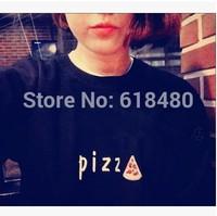 New 2014 Korean Style Women Autumn Winter Long Sleeve O Neck Pizza Black T-shirt Girl Casual Tees Sweater 798#