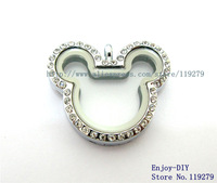 5PCS ! Rhinestone Mickey magnetic glass floating charm locket Free Shipping size 32.3*28.5mm