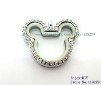 5PCS ! Rhinestone Mickey magnetic glass floating charm locket Free Shipping size 32.3*28.5mm
