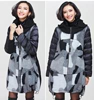 2014 Plus Size Ladies' X-Long Winter Coat New Fat MM Slimmer Europe Warm Zipper Contrast Thick Hoody Overcoat