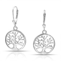 The Family Tree Earrings Popular In Europe And America Hot Sell White Gold Plated  Factory Direct Wholesale Trade Hoop Earrings