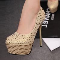 New arrival women ultra high heels 14 cm high quality red bottom high heels sexy Rhinestone pumps shoes women evening pumps