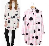 2015 Trendy Women Panda Grain Shirts Slim Women Petal Print Shirts Women Blouses Casual Party Shirts Spring Summer Tops