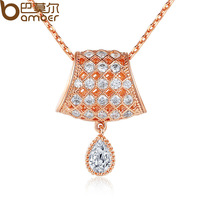 Bamoer Luxury 18K Gold Plated Necklaces Pendants Surround AAA Cubic Zircon For Women Birthday Gift JIN039