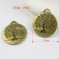 free shipping 10pcs 64-1081 antique bronze 25mm round tree pendant charms  diy decoration  fashion metal beads  jewelry charm