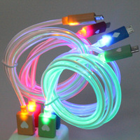 1000 pcs Red Blue Orange Visible LED Light Micro USB Data Sync Charger Cable For Samsung Galaxy S4 S3 4 Color