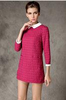 2015 brand higth quality antumn winter fashion women dot peter pan collar three quarter work dress casual dress 2color L-4XL