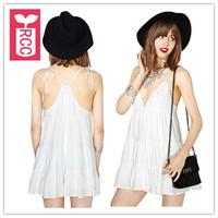 Drop ship!new 2015 brand sexy loose beach holiday chiffon dress V-neck Spaghetti straps PLEATED halter dress