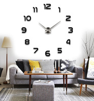 2015 home decor digital 3D diy clock morden design hours unique gift wall sticker single clock safe wall clock wall watch 12-5