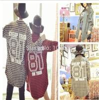Fashion Korean version women long sleeve No.81 letters printing plaid Couples Shirts Autumn Lady Lapel Neck Blouses Apparel