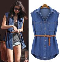 2014 New Summer Lady's Slim Denim Shirt Jean jacket vest Women Turn-down Collar Sleeveless Blouse Tops Coat Free Belt Hot Sale
