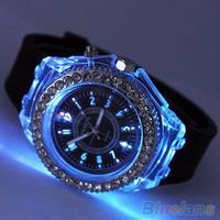 Unisex Fashion Geneva Silicone Luminous Light Sports Quartz Analog Wrist Watch