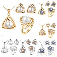 Women's Wedding Pearl Jewelry Set Triangular Pendant Necklace Earrings Ring