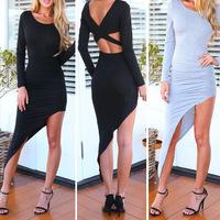 new 2014 nightclubs asymmetrical halter sweet and sexy nightclub Slim Stretch O-Neck longsleeve nightclub Women's Dress S M L