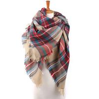 Za 2014 brand of acrylic scarf designer women unisex plaid shawl wrap cape basic multifunction thicken hot gift free shipping