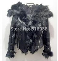 New 2014 autumn winter women fashion black fox fur slim jacket thick warm hood jackets streetwear luxury brand PU outerwear coat
