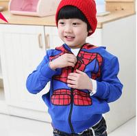 2014 explosion models boys Spiderman shirt cotton leisure suit jacket zipper hoodies children's clothing collection