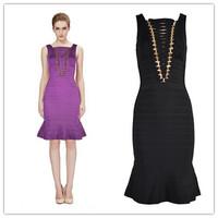 Purple and Black Colour High Quality 2014 New Women's HL Bandage Dress Evening Party Dress Prom Dress Wholesale