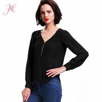 Womens Tops Fashion 2014 Black White Pink Wine Green Zippered V Neck Pullover Chiffon Tops Chiffon Blouse blusa de chiffon