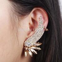 2015 New Vintage Luxury Rhinestone Flower Ear Cuff Stud Earrings Fashion Jewelry For Women Hot Accessories