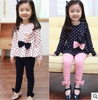 Retail hot sale girls spring autumn fashion Polka dot 2 pieces suit kids princess bow sets 1009
