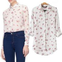 2015 Trendy Women Polka Dot Shirts Slim Women Floral Print Blouses Casual Party Shirts Spring Summer Tops