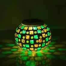 Color Changing Mosaic Garden Solar Light Weatherproof Crystal Glass Globe Ball Table Flameless Light for Garden(Glass)(China (Mainland))