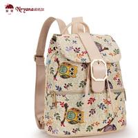 2014 canvas backpack female small fresh preppy style student school bag mini owl backpack