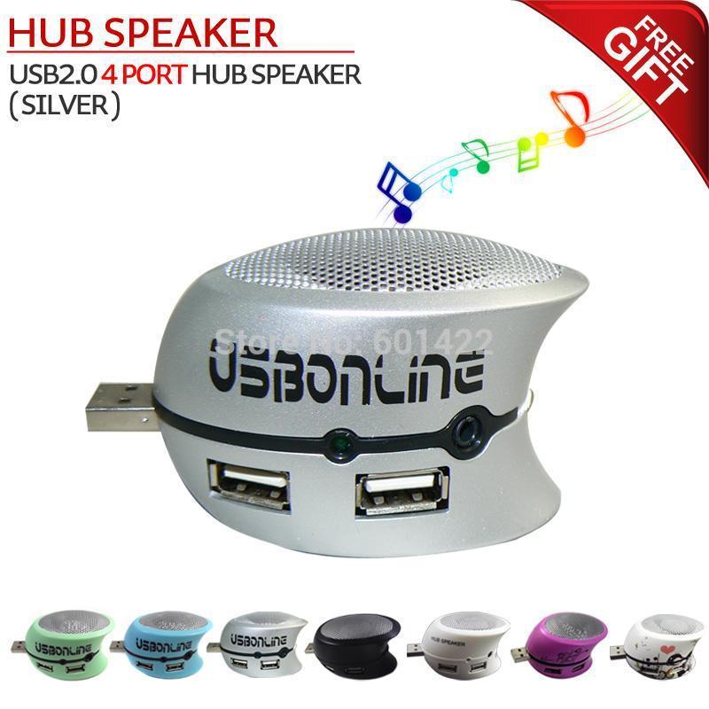 Portable MINI USB 2.0 4 port hub speaker player for computer mobile phone Mp3 Mp4 (Silver)(China (Mainland))