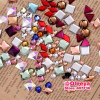 60 Gram Approx 300 pcs Mix Colors Mix Sizes Style Mix Shapes Irregularly Hot Fix Rhinestone HotFix Rhinestone For Garments O2622