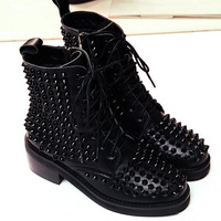 2014 European New Arrival Genuine Leather Lace Up Martin Boots Women Black Spike Fashion Ankle Boots Free Shipping B355