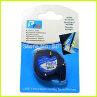 2PK compatible Dymo LetraTag LT 91201 PLASTIC WHITE LABEL Tapes 12MM x 4M