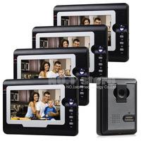7 inch Color Display Video Door Phone Visual Intercom Doorbell Hand Free IR Night Vision 1 Camera 4 Monitor For Home Security