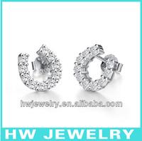 10pcs/lot 925 Sterling silver stud earring zircon jewelry horse earrings, free shipping
