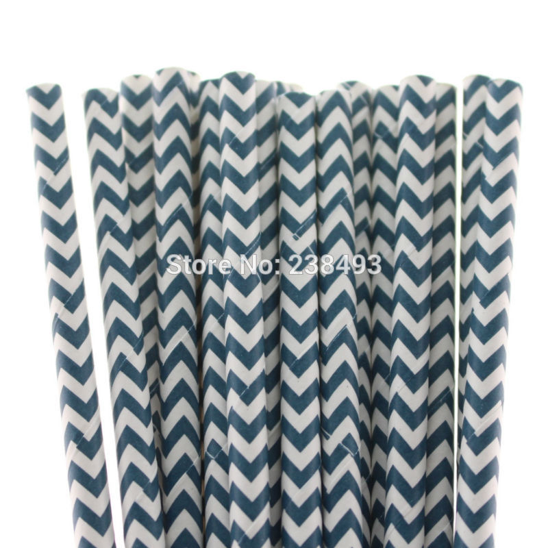 Navy Blue Striped Drinking Straws Drinking Straws Navy Blue