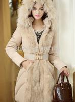 godbead Women Warm Faux Fur Collar Down Jacket Cotton Padded Parka Coat With Belt