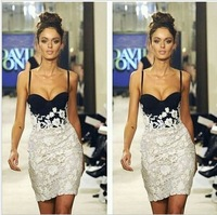 High Quality Free shipping  White and Black Patchwork Flower Lace Dress Mini Bodybon Dress Party Bandage strapless   Dress